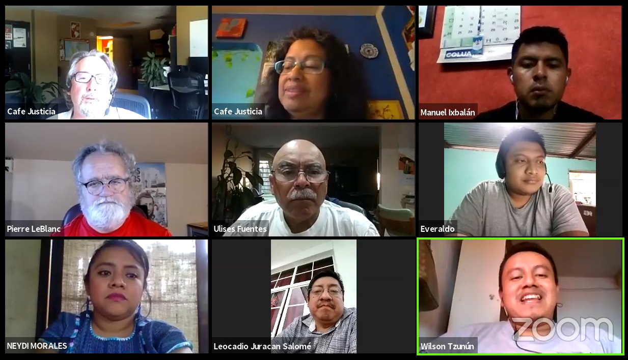 Screenshot showing members of CCDA and Cafe Justicia